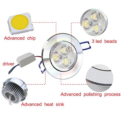 Paquete de 10, Pocketman 85-230 V x 170 vatios empotrable para lámpara de techo LED, blanco cálido de focos para accesorio de iluminación empotrada, con conductor de LED