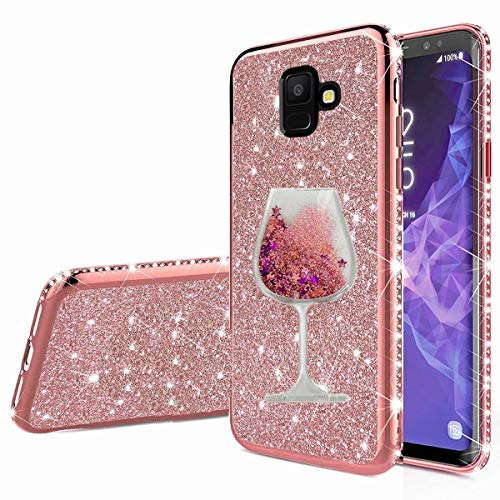 Nadoli Galaxy A8 2018 Glitzer Hülle,Kristall Diamant Strass Bumper mit 3D Fließend Flüssig Treibsand Weinglas Silikon Handyhülle Frauen für Samsung Galaxy A8 2018
