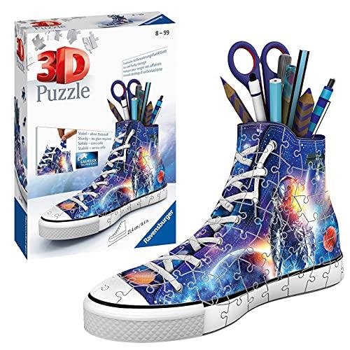 RAVENSBURGER PUZZLE Astronauten im Weltall 3D 11251 – Sneaker astronauti in tutto il mondo – Pratico portapenne con design spaziale – 108 pezzi – a partire da 8 anni, Multicolore