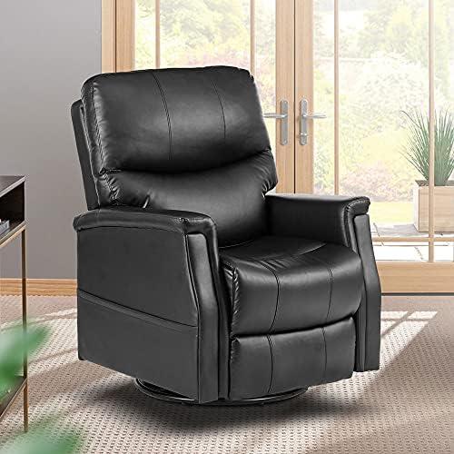 Top 10 Best black massage recliner chair heated pu leather ergonomic lounge 360 degree swivel (black) Reviews