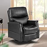 Massage Recliner Chair Manual Swivel Heated Ergonomic Rocker Lounge Chair, 360 Degree Swivel,with Lumbar Heating Function, Reclining Sofa for Living Room, with Side Pockets, PU Leather (Black)