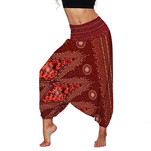 Fansu Pantalones Boho Mujer Verano, Casual Harem Yoga Hippies Bohemio Impreso Desgaste Playa Fiesta (Rojo,un tamaño)