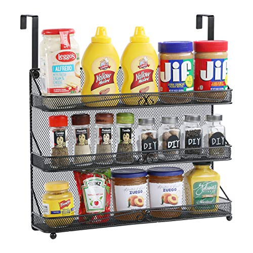 VEESUN Wall Mounted Spice Rack Organizer for Cabinet Pantry Door Kitchen Large Hanging Spice Shelf...