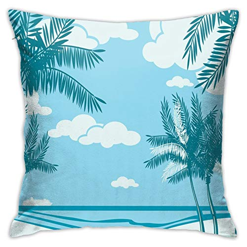 DHNKW Throw Pillow Case Cushion Cover,Beautiful Seaside Coast with Sand and Palm Trees ,18x18 Inches