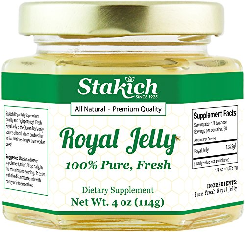 Stakich Fresh Royal Jelly - Pure, All Natural - No Additives/Flavors/Preservatives Added - 4 oz (114 g)