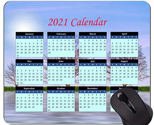 Kalender 2021, Nature Tree Lake Mauspad mit genähten Kanten