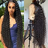 HD Deep Wave Lace Front Wigs Human Hair 30 Inch 13X4 Lace Frontal Human Hair Wig for Black Women Glueless Transparent Lace Curly Wig Brazilian Virgin Human Hair Pre Plucked Natural Color 150% Density