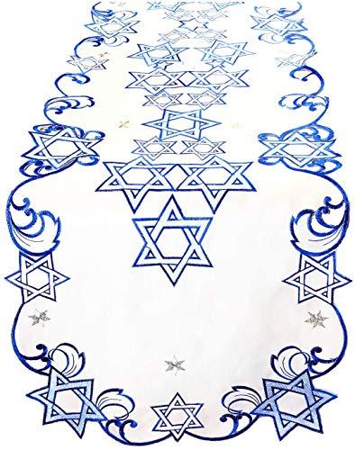 Ella Sussman Holiday Star of David Hanukkah Jewish Table Runner Topper Blue Embroidered Cut Work Topper Linen Decorations (36' x 36')