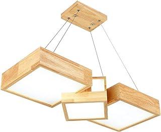 LHL-照明器具 ペンダント木製ランプ、正方形のログ吊るす光