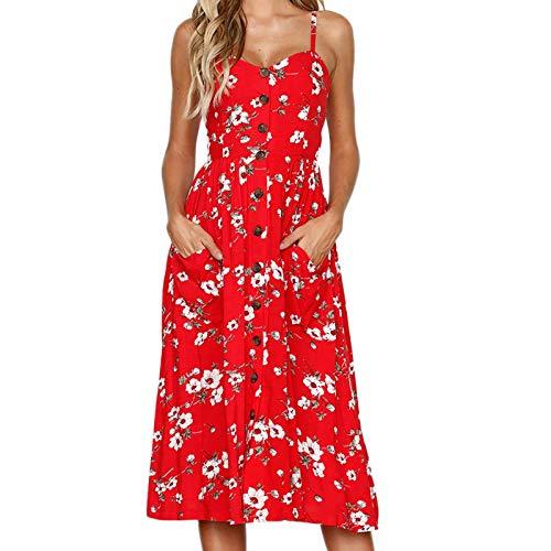 Pistaz - Vestido de verano sin mangas con cuello en V para mujer, con bolsillos en el hombro, para fiesta, vestido de verano en la playa sin mangas con cuello en V y tirantes Spaghetti