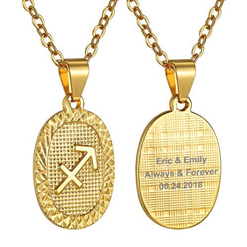 Medalla ovalada dorada de Sagitario