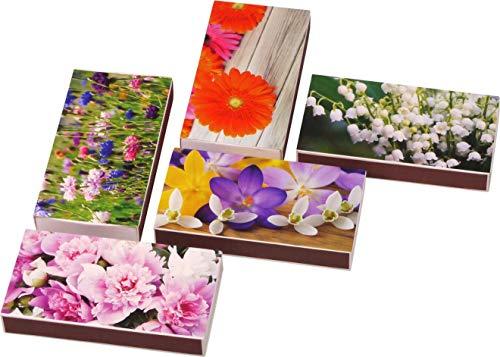 LK Trend & Style 3 Packungen a 50 Stück XXL Streichhölzer Blumenmotive Grillanzünder mit 100mm Länge/Kaminhölzer