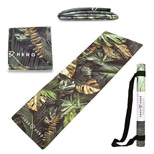 Yoga Hero - Esterilla de viaje de 1 mm, esterilla de yoga de viaje, plegable, antideslizante, 3 en 1, natural y respetuosa con el medio ambiente, correa de transporte para viajes (Leaves)