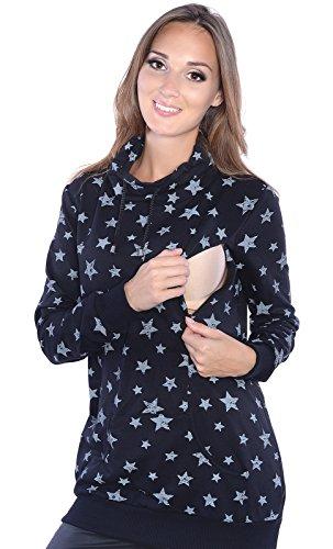 Mija - Umstandsmode / 2 in1 Stillpullover & Umstandspullover Sweatshirt 4058 (EU46 / XXXL, Schwarz)