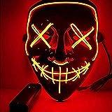 Sinwind Masque Halloween LED, Masque Lumineux Halloween Masque Allumer Masques Halloween Cosplay LED Masque Lumineux pour Décoration Fête Festival Night-Club Masquerade Carnaval Soirée (Rouge)