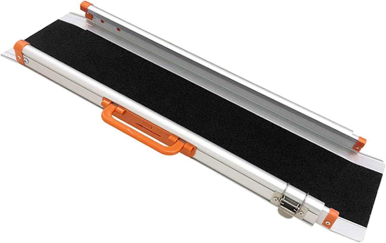 LIPINCMX Rampa de Aluminio Ajustable para Silla de Ruedas, rampa de Silla de Ruedas de Superficie Antideslizante telescópica portátil para el hogar, escaleras, escalones, Capacidad de 800 Libras