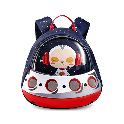 Toddler Backpack with Safety Harness Leash Kids UFO Space Ship Backpack for Boys Waterproof Preschool Kindergarten School Bag Blue