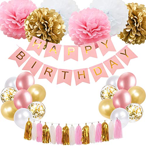 SZHUIHER Pink and Gold Birthday Decoration, Happy Birthday Banner, Tissue Flower, Party Balloons for 16th 18th 21st 30th 50th 60th Birthday Party Decoration Supplies for Women Girls
