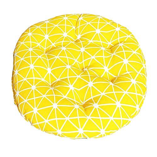 Morbuy Cojines Redondo Gruesos, Algodón 100% Transpirable Suave Almohadas Cojín de Piso Decoración Hogar para Comedor,Jardín Cojín de Asiento (40 * 40,Cuadrícula Amarilla)