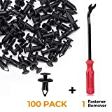 kemimoto Plastic Push Rivets Car Clips Push-Type Nylon Bumper Fastener Rivet Expansion Screws Replacement Kit Compatible with Can Am Pioneer Auto Body (100PCS+1 Plastic Fastener Remover Tool)