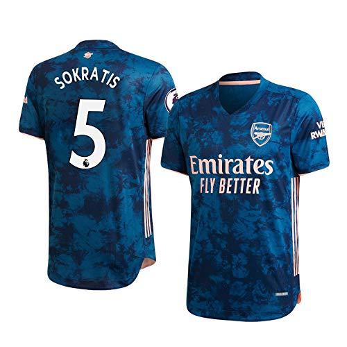 L-Shop Sokratis Papastathopoulos Arsenal Blau,Maillot Sokratis Papastathopoulos Trikot 2020/21 für Herren & Jungen(Blau,L)