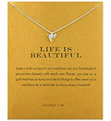 【Necklace Meaning】 Just as a hummingbird encounters beauty with each new flower, you are on a path that has so many wonderful things to olfer, wear your necklace as a reminder to enjoy every moment. 【Inspirational Message Card】 Start with a good qual...
