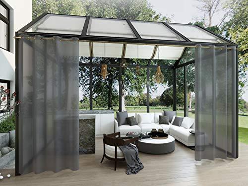 Clothink Outdoor Vorhänge mit Ösen 132x215cm (1 Stück) - Winddicht Wasserdicht Vorhänge Outdoor Gardinen, Mehltau beständig, für Gartenlauben Balkon, Strandhaus Vorhalle, Pergola, Cabana