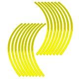 Elerose Ribete de borde de raya de 16 ruedas Adornos para automóviles de 16-19 pulgadas ruedas de bicicleta y motocicleta pegatinas llantas moto(Amarillo fluorescente)