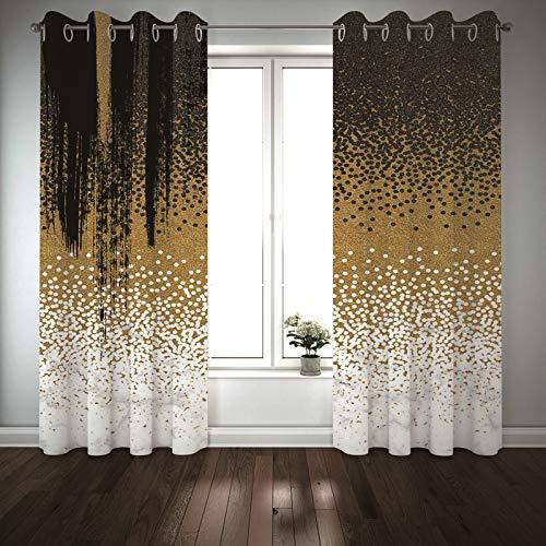 Kihomedy Cortina para dormitorio infantil, diseño de lunares, color oro blanco, negro, para niños, cortinas para dormitorio de 2014 x 2014 cm, 2 paneles
