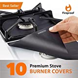 "10 pack, gas stove protector, stove burner liners, stovetop range protectors, set top burner covers black, size 10.6"" x 10.6""  non stick reusable cover easy to clean, double thickness"