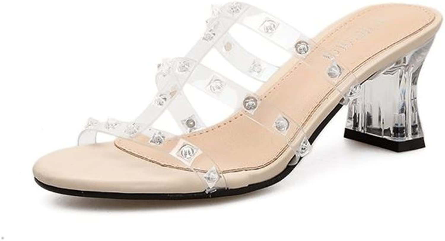 pink town Women's Retro Clear Sandals - Block High Heels Lace up - Slip on Mules shoes