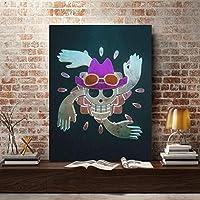 アニメワンピースマークキャンバス絵画壁アートプリントファッションポスター家の装飾壁の装飾男の子の寝室の装飾モジュラーPicture50x70cm-フレームなし