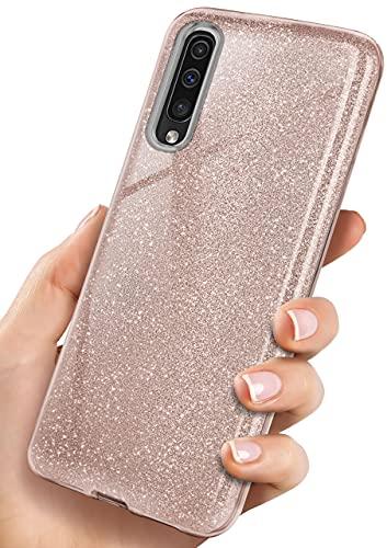 ONEFLOW Glitter Hülle kompatibel mit Samsung Galaxy A50 / A30s Hülle Glitzer Stoßfest, Silikon Schutzhülle dünn, Handyhülle Diamant Strass, Glitzerhülle mit Bling Sparkle - Roségold