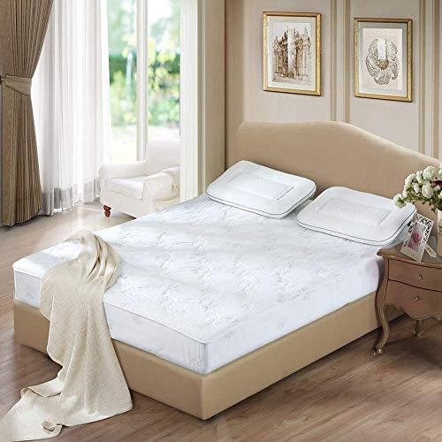 POETRY Dun katoen gewatteerde matras topper anti-slip futon matras topper ademende tatami vloermat gewatteerde print slaapmutsmat wit 150 x 200 cm (59 x 79 inch)