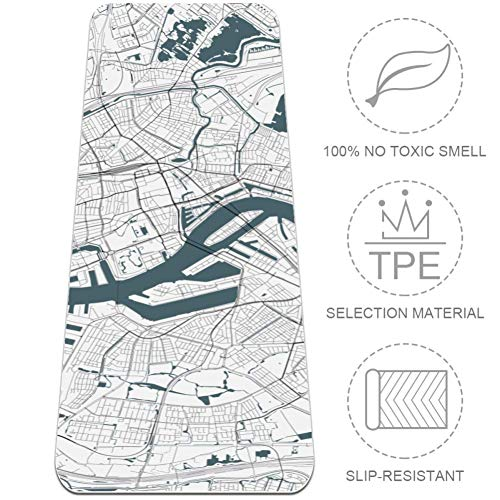 Rutschfeste Yogamatte, Reise- und Fitness-Matte mit Tragegurt und Tasche für Pilatesboden Workouts (72 x 24 x 6 mm) Live Satellite Map Weiß, mehrfarbig, 24x72 in-61x183 cm