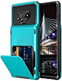 Vofolen Case for Galaxy Note 9 Case Wallet 4-Slot Pocket Credit Card ID Holder Scratch Resistant Dual Layer Protective Bumper Rugged Rubber Armor Hard Shell Cover for Samsung Galaxy Note 9 Sky Blue