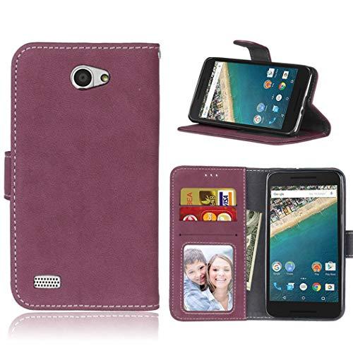 Ycloud Geldbörse Hülle für LG Bello 2 Smartphone, Matt Textur PU Leder Magnetisch Flip Handyhülle mit Standfunktion Kartenfächer Entwurf (Rosenrot)