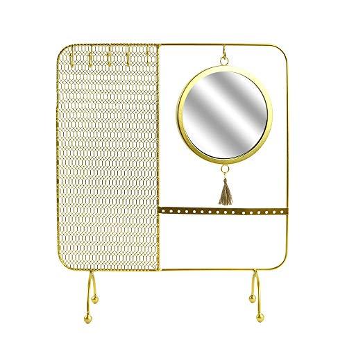 Cmp-Paris - Joyero con Espejo con Cable, 35,5 x 30 cm, Color Dorado