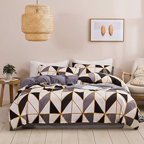 N/C Ropa de cama de 200 x 200 cm, funda de edredón reversible de microfibra, color gris, blanco y negro + 2 fundas de almohada de 80 x 80 cm
