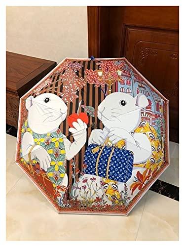Nuevo Paraguas Automático Plegable Paraguas Lindo Conejo Paraguas Caja De Regalo 2 Colores Opcionales Paraguas De Las Señoras (Color : Coffee)