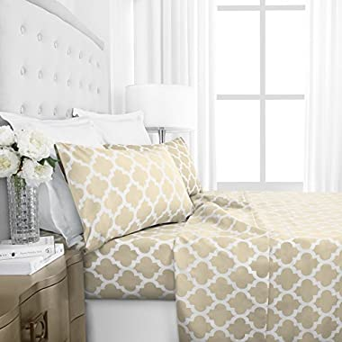 Egyptian Luxury 1800 Series Hotel Collection Quatrefoil Pattern Bed Sheet Set - Deep Pockets, Wrinkle and Fade Resistant, Hypoallergenic Printed Sheet and Pillow Case Set -King - Cream