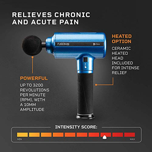 Fusion FX Heated Percussion Massage Gun - Deep Tissue Massager for Muscle Pain Relief, Enhanced Recovery for Athletes & Percussive Therapy - 3 Auto Modes, 5 Powerful Speeds, Handheld Electric Device