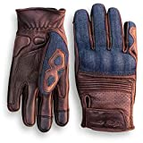 Denim & Leather Motorcycle Gloves (Brown) With Mobile Touchscreen...