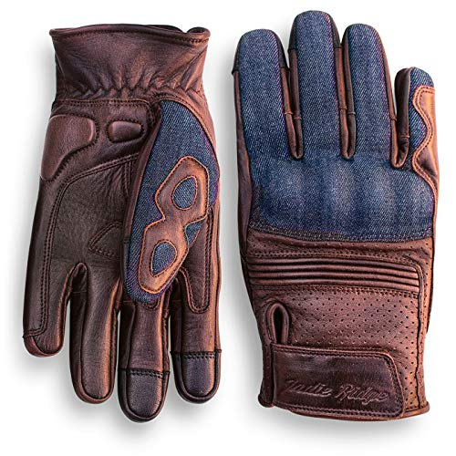 Denim & Leather Motorcycle Gloves (Brown) With Mobile Touchscreen by Indie Ridge (X-Large)