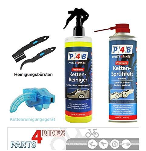 P4B Kettenreinigungsset Kettenfett + Kettenreiniger Sprühflasche + Kettenreinigungsgerät + Kettenbürste Fahrradkette Fahrrad E-Bike Reiniger Reinigungsgerät PTFE