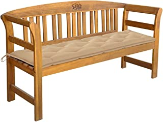 vidaXL Solid Acacia Wood Garden Bench Wooden Outdoor Patio Terrace Backyard Seating Seat Sitting Chair Furniture with Cush...