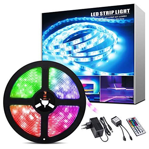 ShinePick Striscia LED, 5M 150 Led RGB 5050 LED TV Retroilluminazione Strisce, Led Strip con 44 Chiavi Telecomando per Casa, Camera da letto, TV, Armadio, Festa, Decorazione di festa