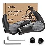 WOTEK Fahrradgriffe Fahrradlenker, MTB Griffe fahrradgriffe ergonomisch, fahrradgriffe Mountainbike Rutschfester Lenkergriffe Gummi 22mm, Schwarz/Grau