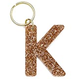 Letter K Keychain Accessories for Women and Girls, Gold Glitter Initial Key Ring