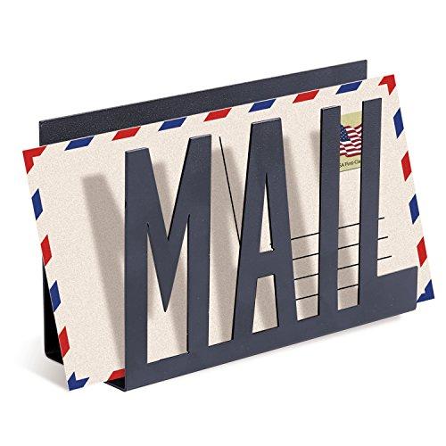 MyGift Briefhalter aus Metall Modern Small Mail (Schwarz)